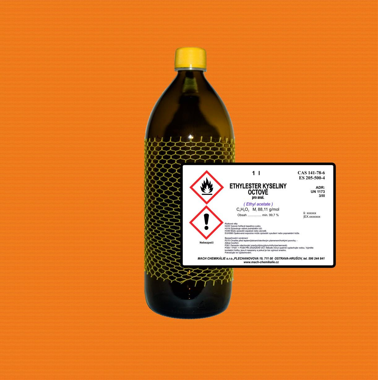 ethylace E-shop: Ethylester kyseliny octové (Ethyl acetate) p.a., 1000 ml